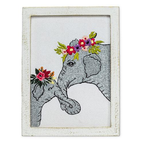 Elephants With Flowers Wall Art