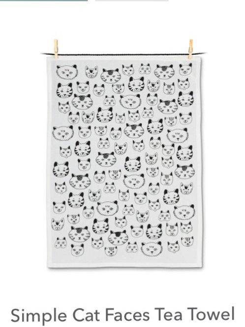 Simle Cat Faces Tea Towel