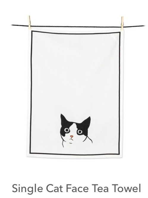 Single Cat Face Tea Towel