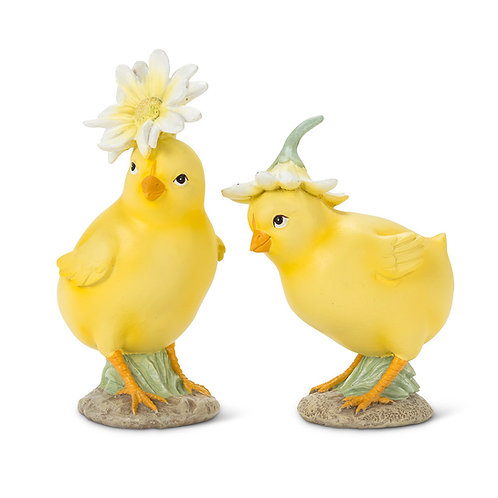 Chicks with Flower Hats