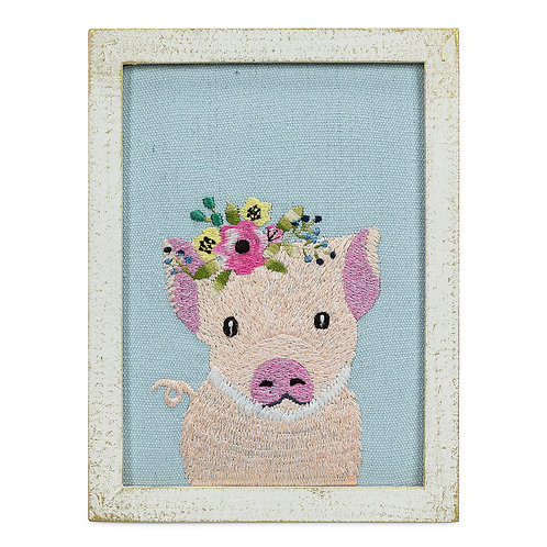 Pig With Flowers Wall Art