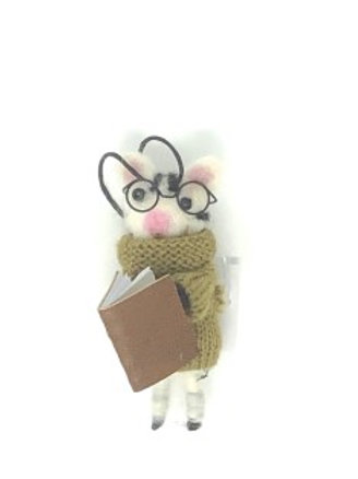 Reading Mouse Ornament