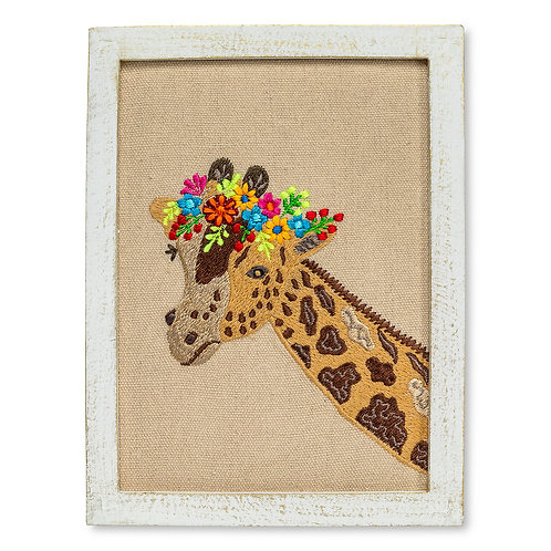 Giraffe With Flowers Wall Art