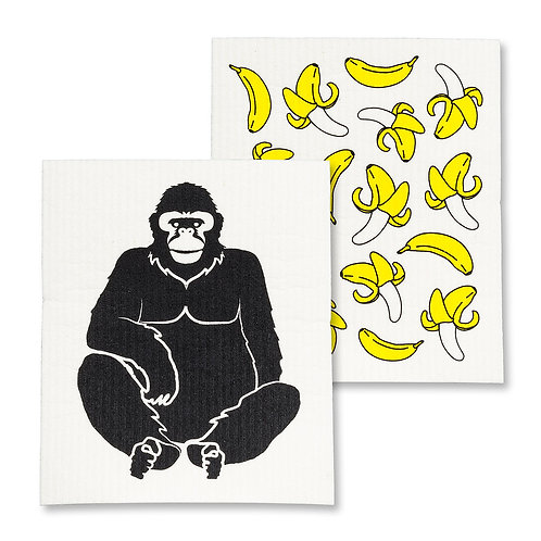Gorilla/Banana Dish Cloth Set of 2