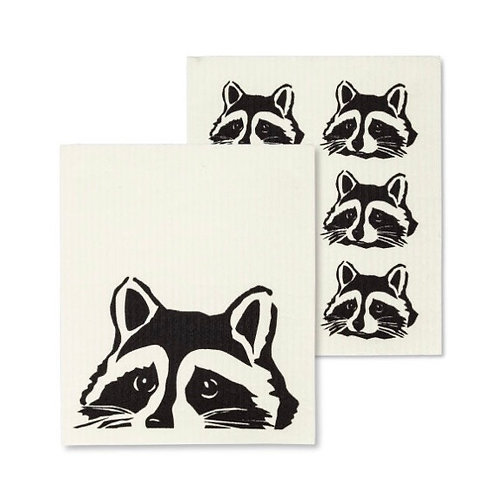 Peeking Raccoon Dish Cloths set of 2
