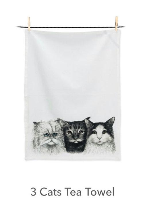 3 Cats Tea Towel