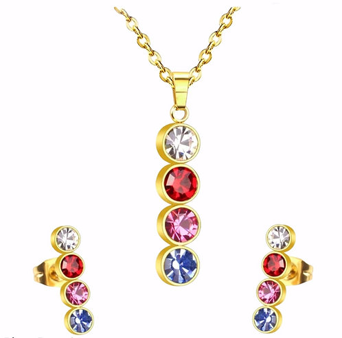 Wolf Gold-Plated Vertical Pendant and Earring Set, multi coloured Crystal accent