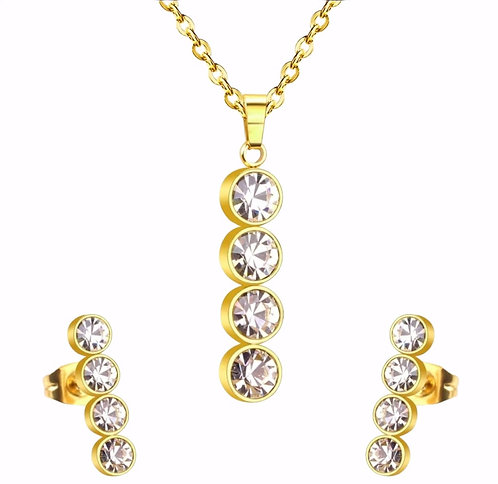 Wolf Gold-Plated Vertical Pendant and Earring Set, Crystal accent