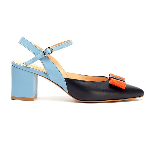 Jessica     leather slingback pumps with Bow /Multi colour