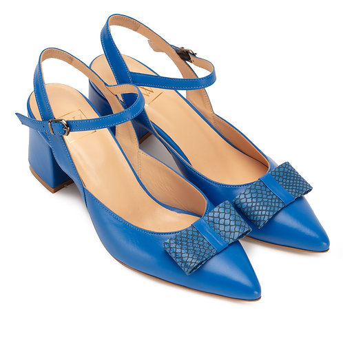 Jessica    leather slingback pumps with Bow Blue#