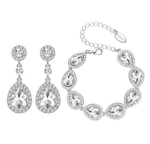 WOLF  silver  Crystal Statement Teardrop Earrings with  Bracelet Set