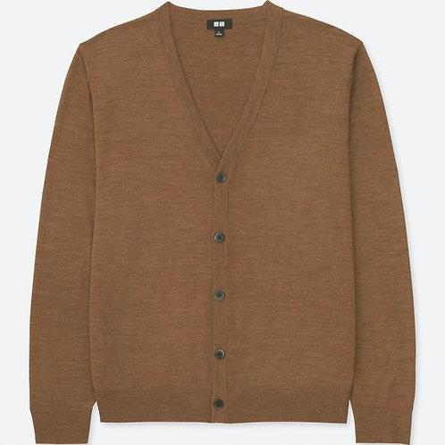 MEN Extra Fine Merino V Neck Long Sleeve Cardigan