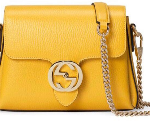 Gucci Ivory Interlocking GG Shoulder Bag Small Yellow