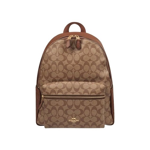 Coach Large Charlie Backpack In Signature Canvas Brown