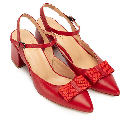 Jessica    leather slingback pumps with Bow Red