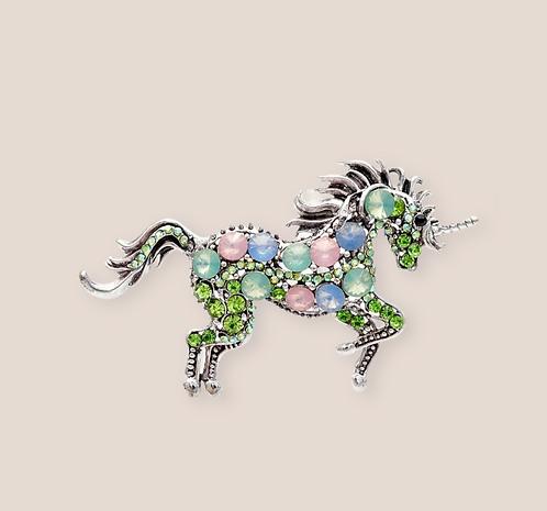 Wolf Rhinestone unicorn brooche Green