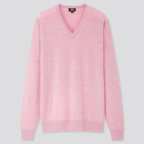 Uniqlo fine extra merino Men sweater  V-neckPINK