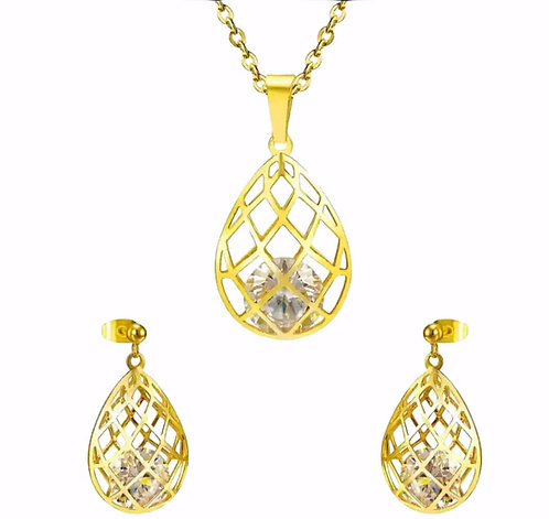 Wolf  stainless steel Gold plated Teardrop Jewelry Set
