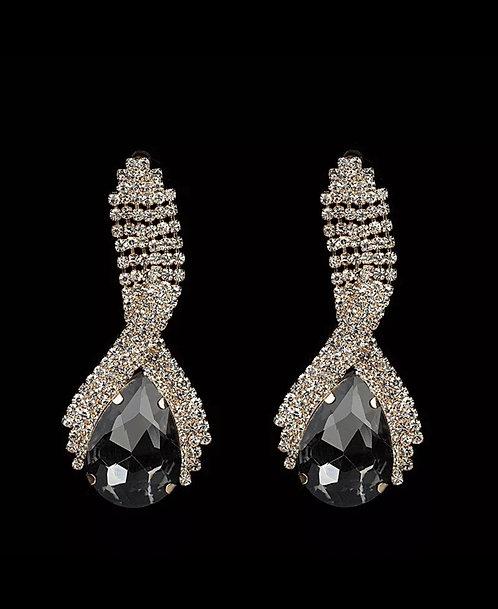 Wolf Woman Crystal  Rhinestone Teardrop statement earrings  Black