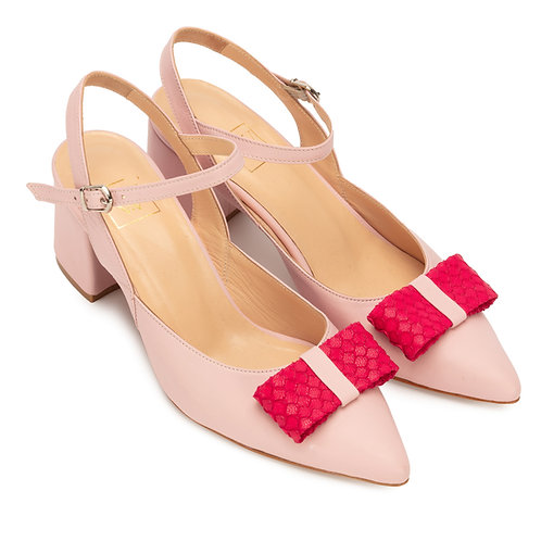Jessica    leather slingback pumps with Bow Pink