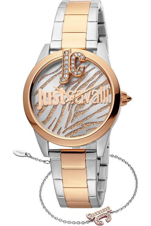 Just Cavalli Logo Ladies chain Wrist watch (JC1L099M0095) plus free bracelet