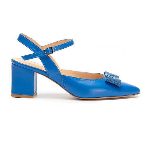 Jessica    leather slingback pumps with Bow Blue by Wolf Woman
