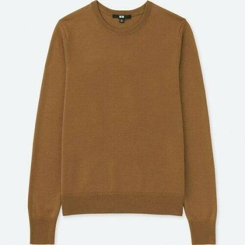 Uniqlo fine extra merino Men sweater V-neck brown