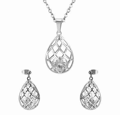 Wolf  stainless steel Teardrop Jewelry Set