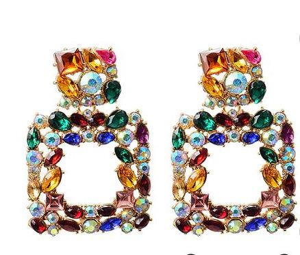 Multicoloured Crystals Dangle Drop Earrings