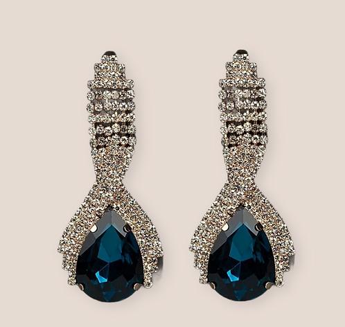 Wolf Woman Crystal  Rhinestone Teardrop statement earrings  Blue