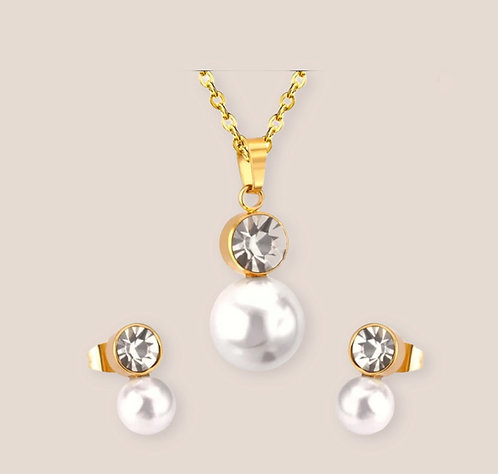 Wolf Round cut White/Gold/crystal earring pendant necklace