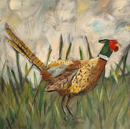 Pheasant in the Grass framed