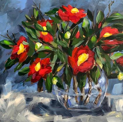 """Yuletide Camellias 12""""x12"""""""