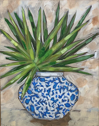 Palmetto Frond in Blue and White