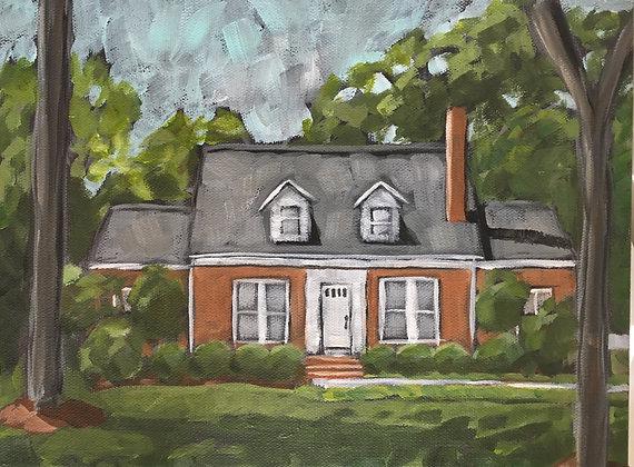Home Portrait Painting, Custom House portrait