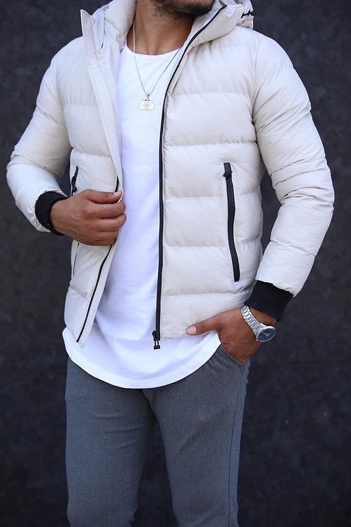Yeni Sezon Erkek Beyaz Kapşonlu Düz Mont