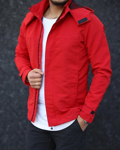 Yeni Sezon Erkek Kırmızı Kapüşonlu Ceket