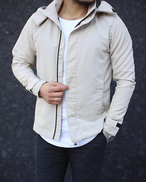 Yeni Sezon Erkek Krem Kapüşonlu Ceket