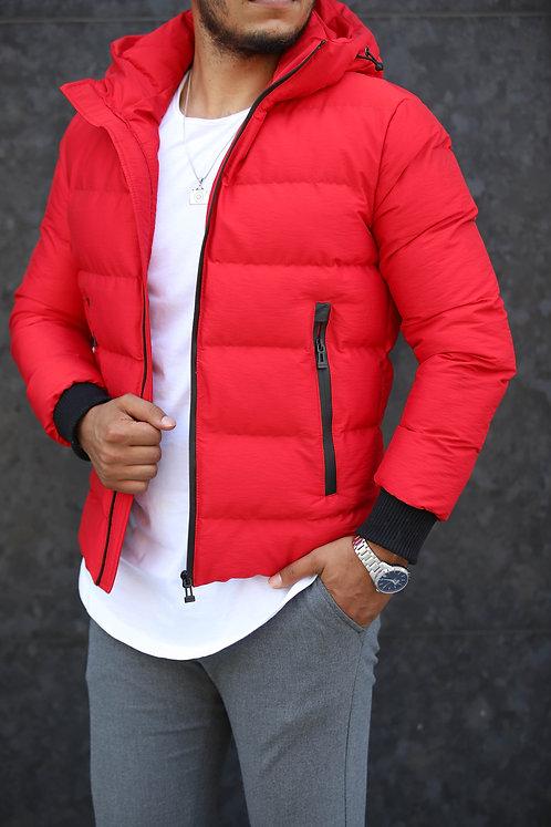 Yeni Sezon Erkek Kırmızı Kapşonlu Düz Mont