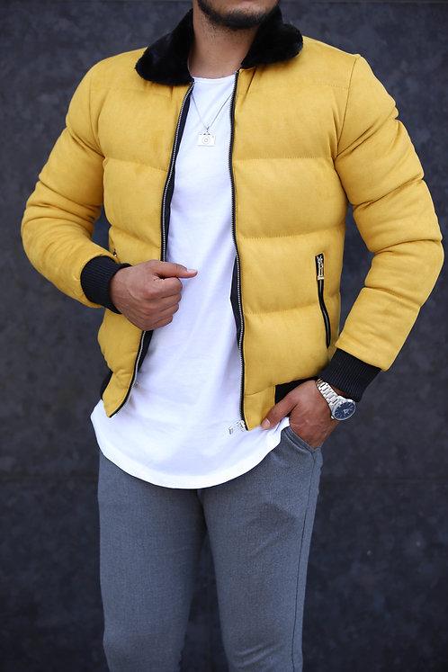Yeni Sezon Erkek Sarı Kürk Yakalı Süet Mont