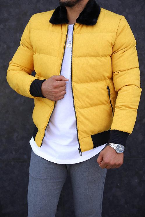 Yeni Sezon Erkek Sarı Kürk Yakalı Mont