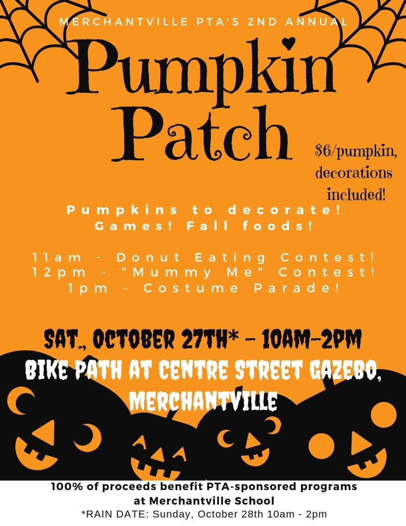 Our 2nd Annual Pumpkin Patch is taking place on October 27, 2018 at the Merchantville Bike Path by the Gazebo!