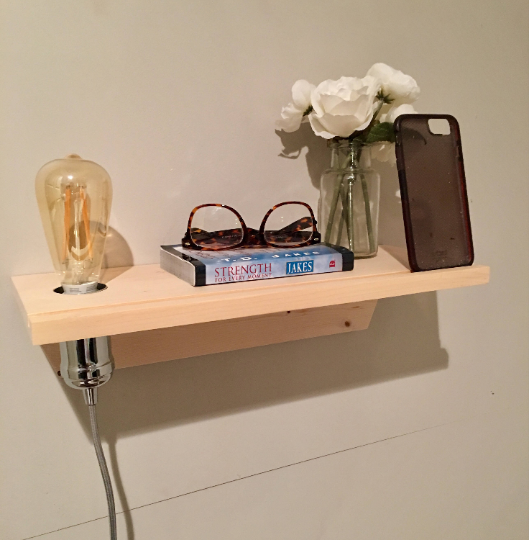 Floating Nightstand with Docking Station