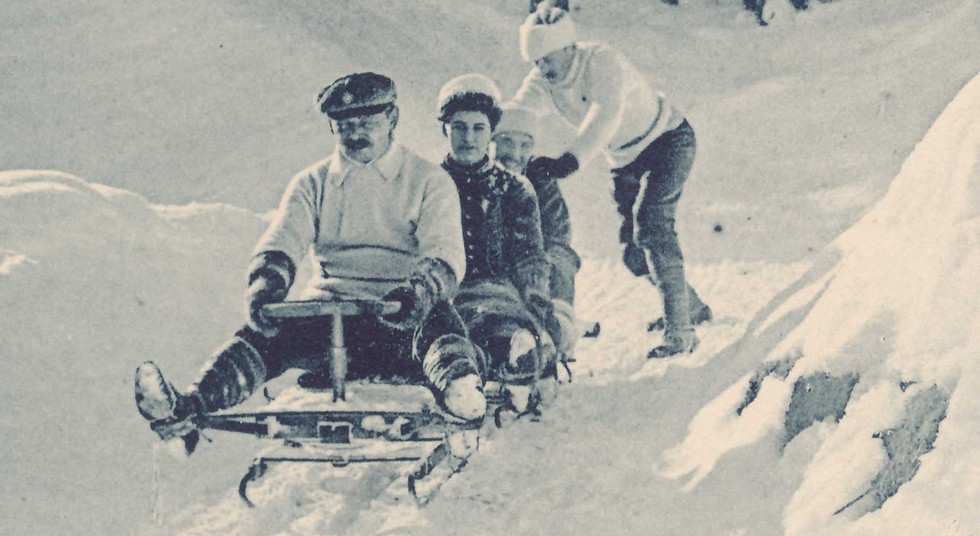 Postkarte Klosters Winter Sport, Bob Davoserstrasse