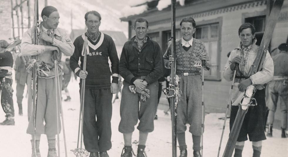 Winter Parsenn Derby, Walter Prager mit weitern Läufern Arosa Sieger 1936