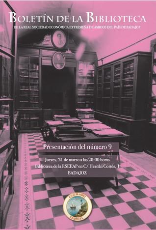 Presentación del Boletín de la Biblioteca de la RSEEAP nº9, 21/03/2019 20.00 h.