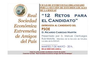 """""""12 retos para el candidato"""" D. Ricardo Cabezas Martín. 07/05/2019 20.00 h."""