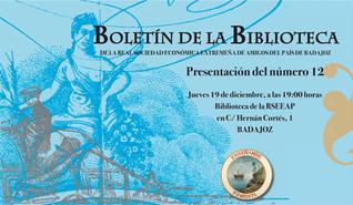 Presentación del Boletín de la Biblioteca de la RSEEAP nº 12. 19/12/2019, 19.00 h.