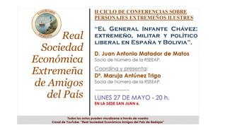 """Conferencia """"El General Infante Chávez: extremeño, militar y político liberal en España y Boliv"""