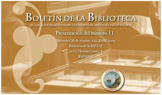 Presentación del Boletín de la Biblioteca de la RSEEAP nº 11